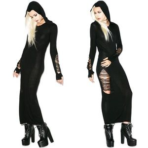 Killstar Nu War Distressed Knit Maxi Dress - NWT